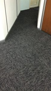 Black Carpet Tiles Installation at Factory Office