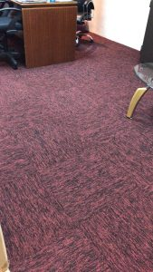 Red Carpet Tiles Installation at Factory Office