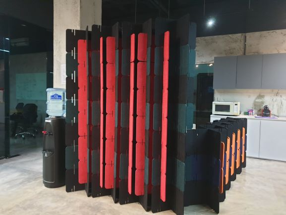 Tall acoustic partition for covid station 2